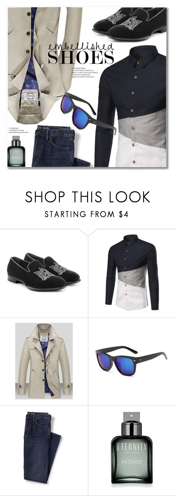 """Magic Slippers: Embellished Shoes"" by svijetlana ❤ liked on Polyvore featuring Alexander McQueen, Lands' End, Calvin Klein, men's fashion, menswear, embellished and rosegal"