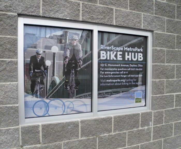 Perforated Window Film Graphics For Riverscape Bike Hub