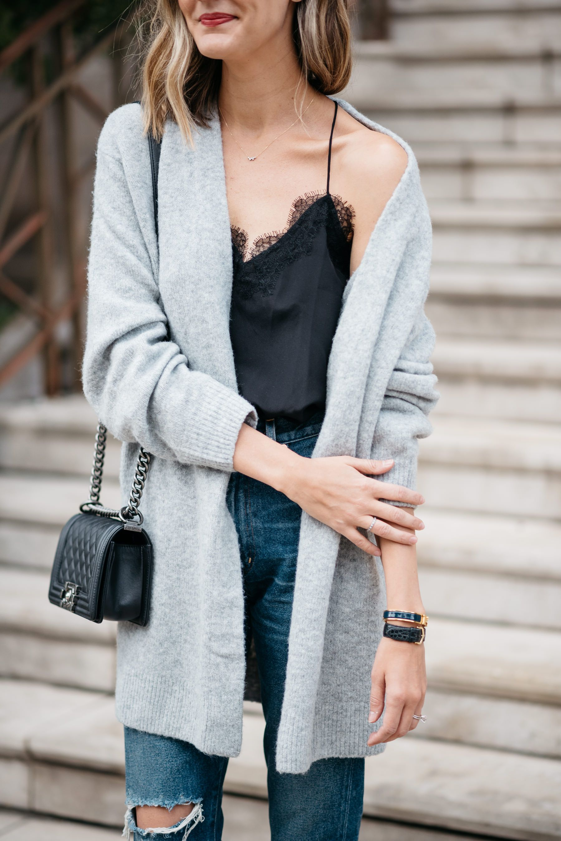 oversized boyfriend cardigan lace cami fall outfit | Style ...