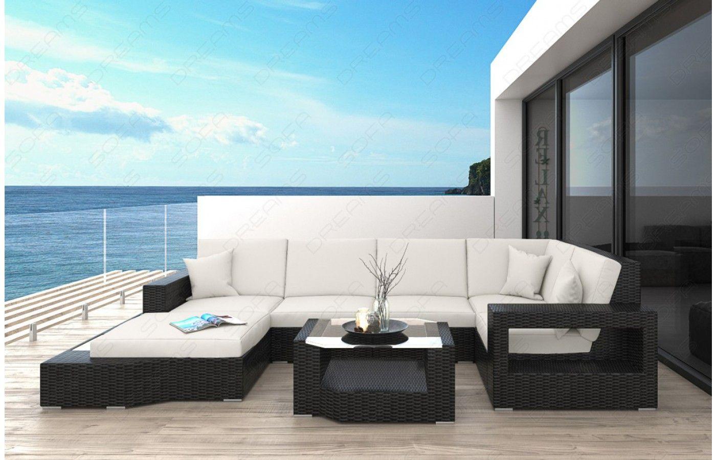 Marvelous  Rattan Sofa Lounge MESSANA f r den Au enbereich mit LED Beleuchtung
