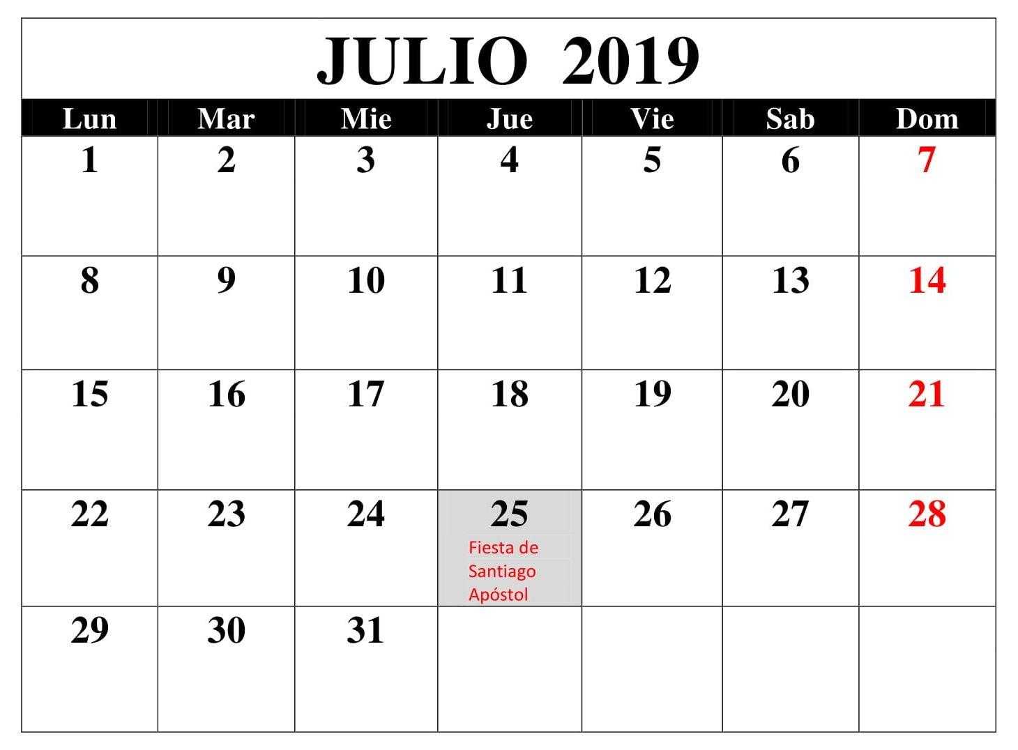 Calendario Mes De Julio.Top 10 Punto Medio Noticias Calendario Mes Julio 2019 Con Festivos