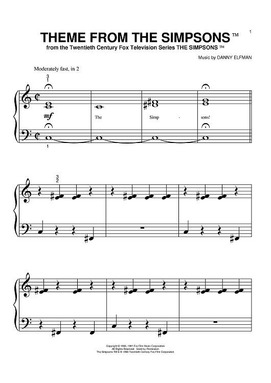 Theme From The Simpsons Sheet Music Www Onlinesheetmusic Com