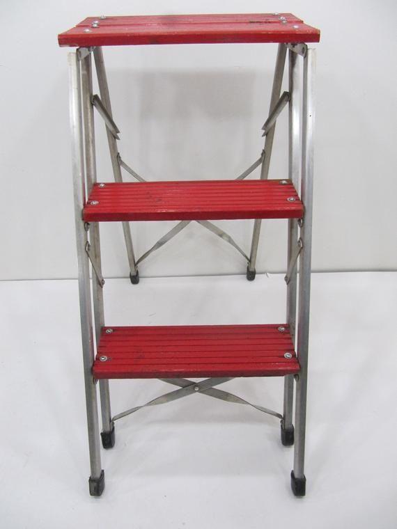Vintage Step Ladder, Industrial Step Stool, Kitchen Step ...