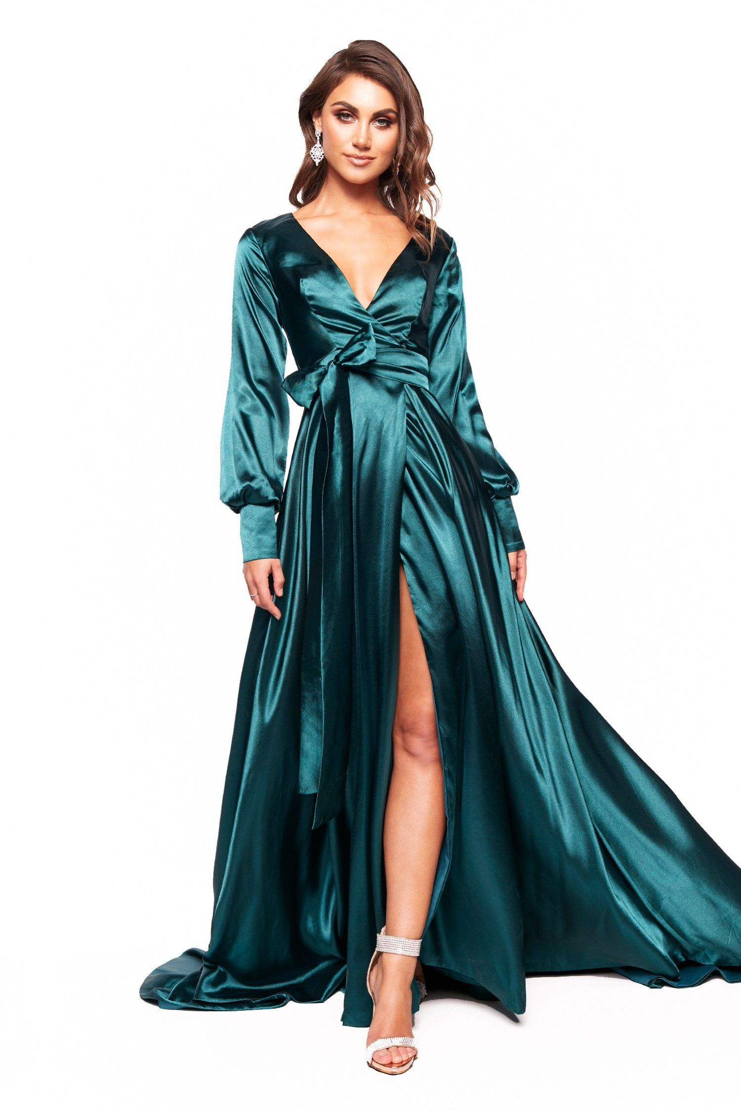 c7f210f6 A&N Luxe Paloma - Teal Long Sleeved Satin Gown with Plunge Neck & Slit –  A&N Luxe Label