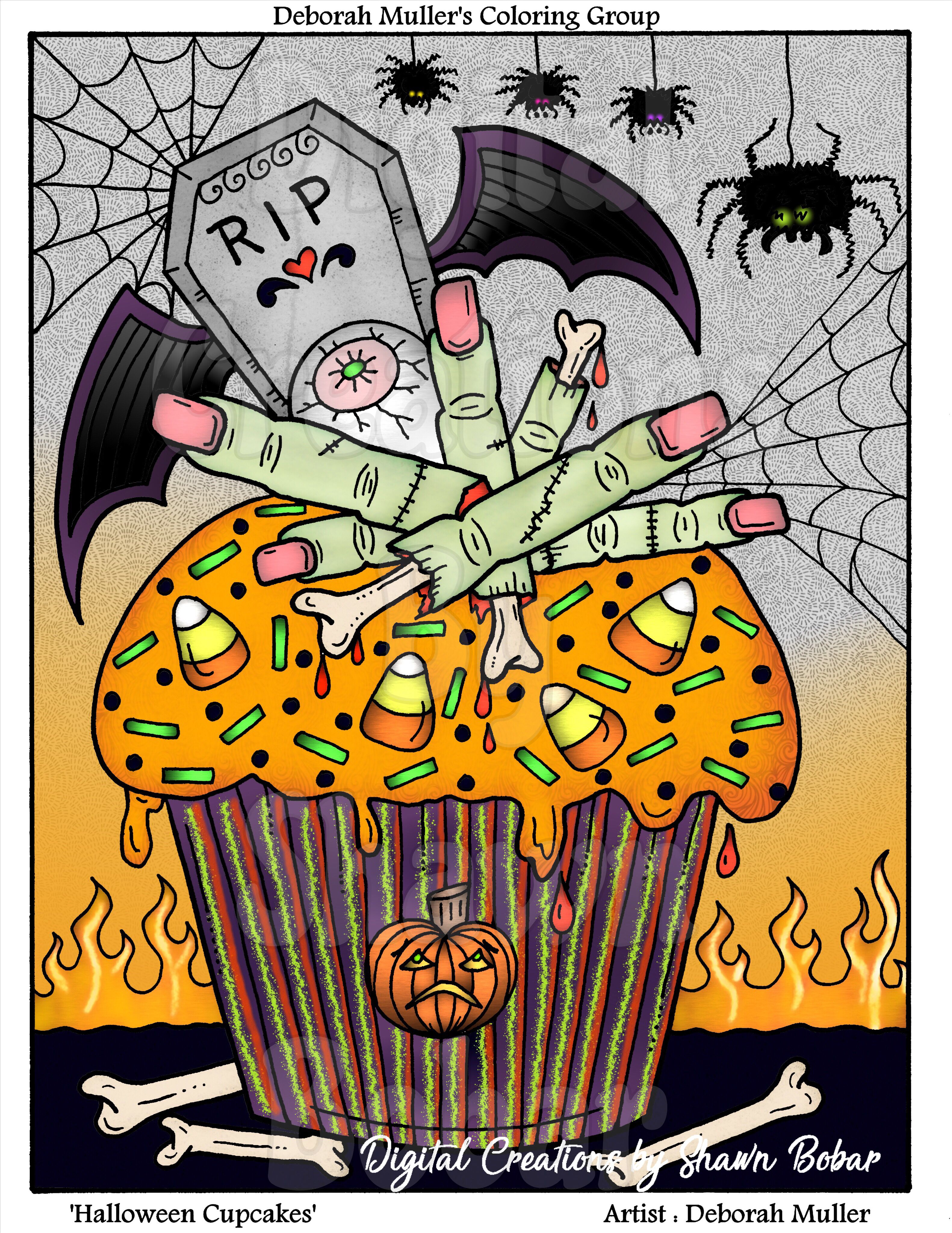 Artist Deborah Muller Halloween Cupcakes Available In Her Etsy Digitally Colored Using Pigment IPad Pro