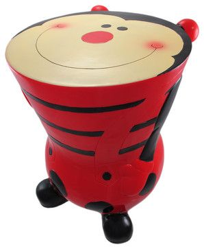 Red / Black Ladybug Childs Stool Money Bank Lady Bug - contemporary - Kids Chairs - Things2Die4