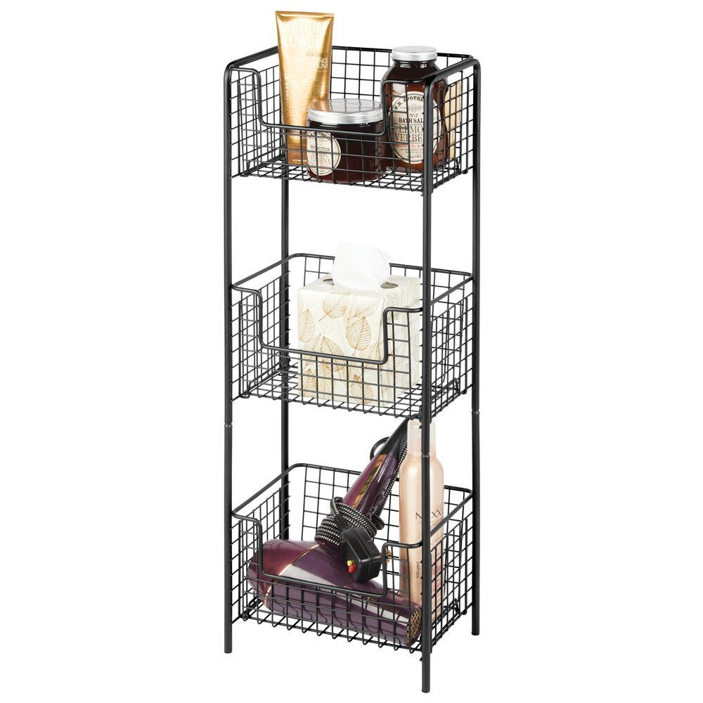 Graphite Gray Toiletries Decorative Metal Storage Organizer Tower Rack with 3 Basket Bins to Hold and Organize Bath Towels mDesign 3 Tier Vertical Standing Bathroom Shelving Unit Hand Soap