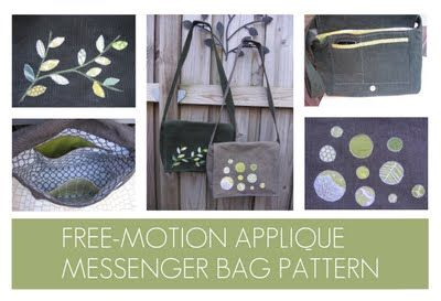 6dde3c718a free motion applique messenger bag pattern Messenger Bag Patterns