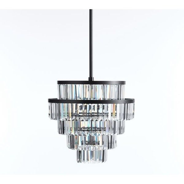 Pottery barn gemma crystal tiered chandelier 699 ❤ liked on polyvore featuring home crystal lightspottery barnceiling