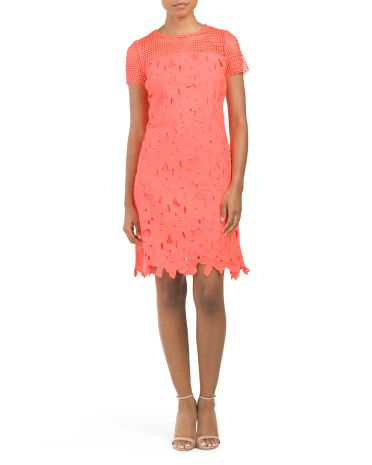 Short+Sleeve+Floral+Lace+Dress