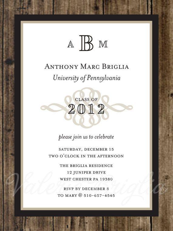 traditional graduation invitation printable file by valeriebdesign