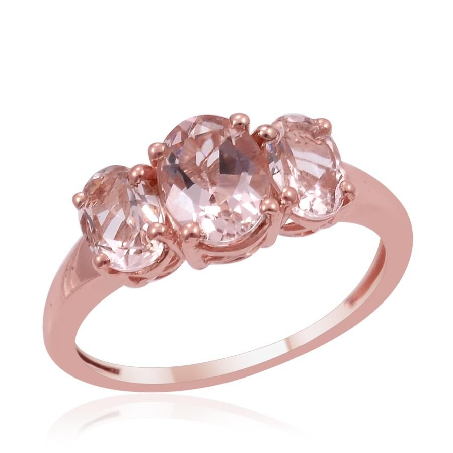 Marropino Morganite (Center Ovl 1.25 Ct) 3 Stone Ring in 14K RG ...