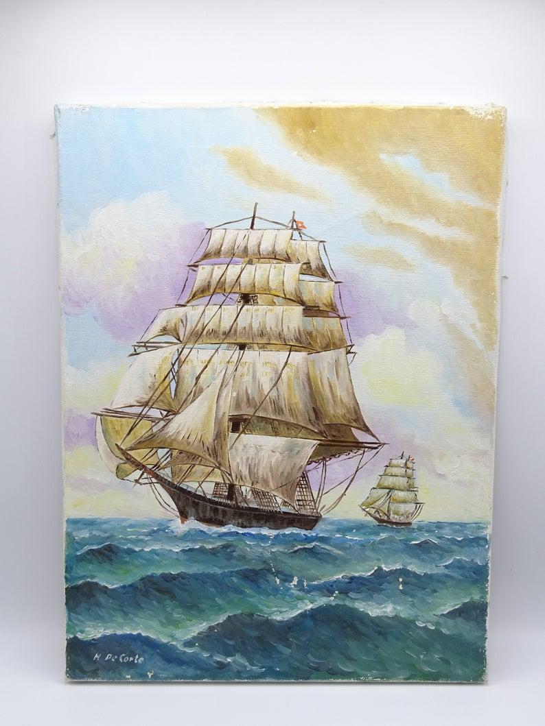 CERAMIC Colorful Ship in vivid colors Artistic Home Decoration Art COLLECTIBLES NAUTICAL Decoration