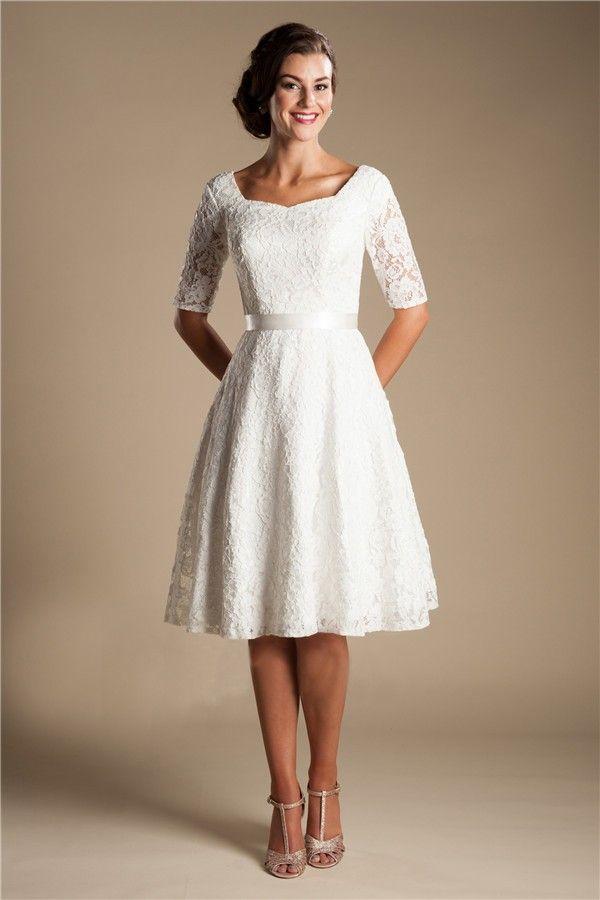 c96c635b10 Modest A Line Short Sleeve Lace Corset Wedding Dress With Sash ...