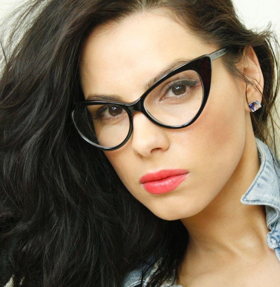 ford design clear lenses black cat eye frame women eyeglasses glasses eyewear