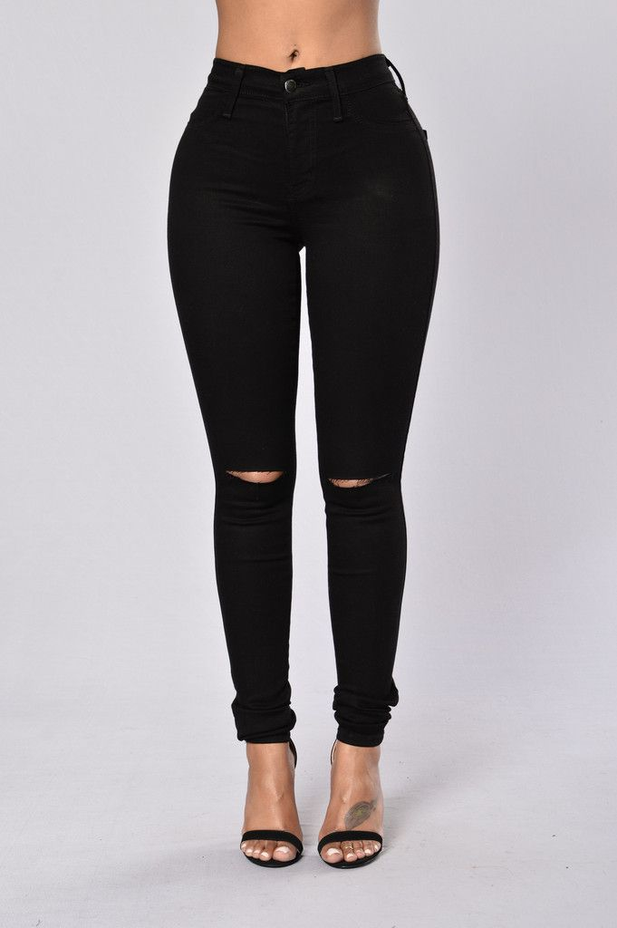 Available in Black, Olive, White, Brick and Burgundy - Available in Plus  Sizes - High Waisted - Black Wash - Slit Knee - 2 Back Pockets - Tencel  Cotton ...