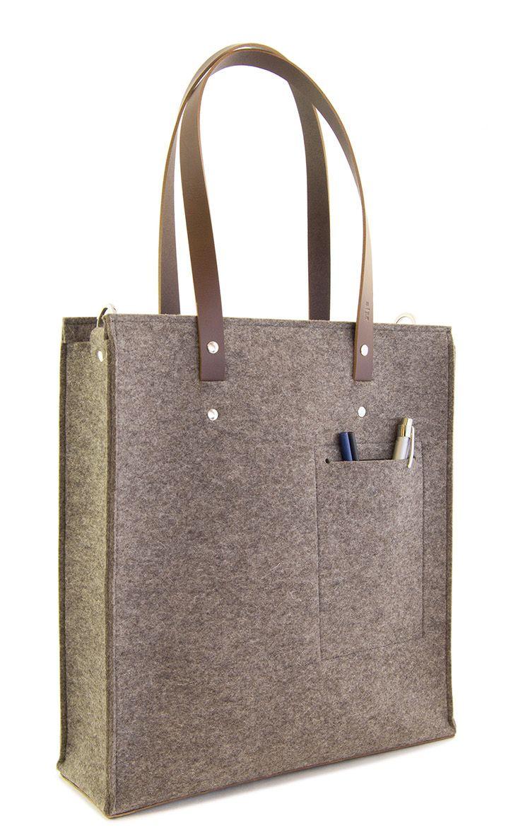 33eb3b0e8b Felt TOTE BAG with leather straps   100% wool felt   grey felt ...