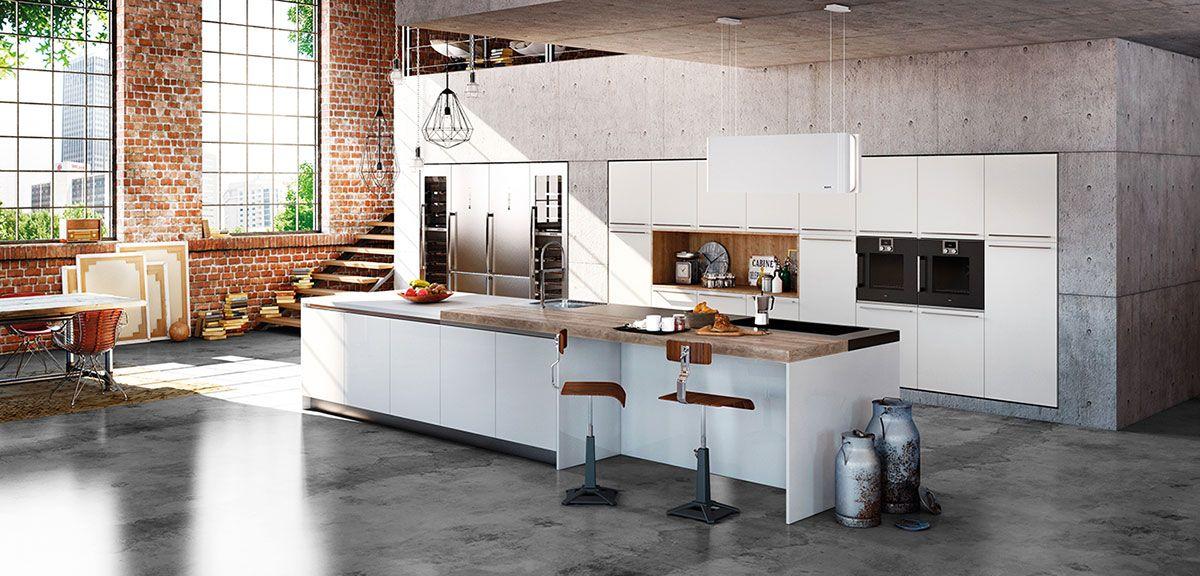 Cuisine Thetis Blanc Mat et Cuisine Aeros Blanc Brillant - Cuisine ...