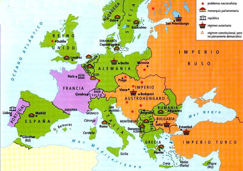 1914) Governments of Europe on the eve of WWI. | Russian Revolution ...