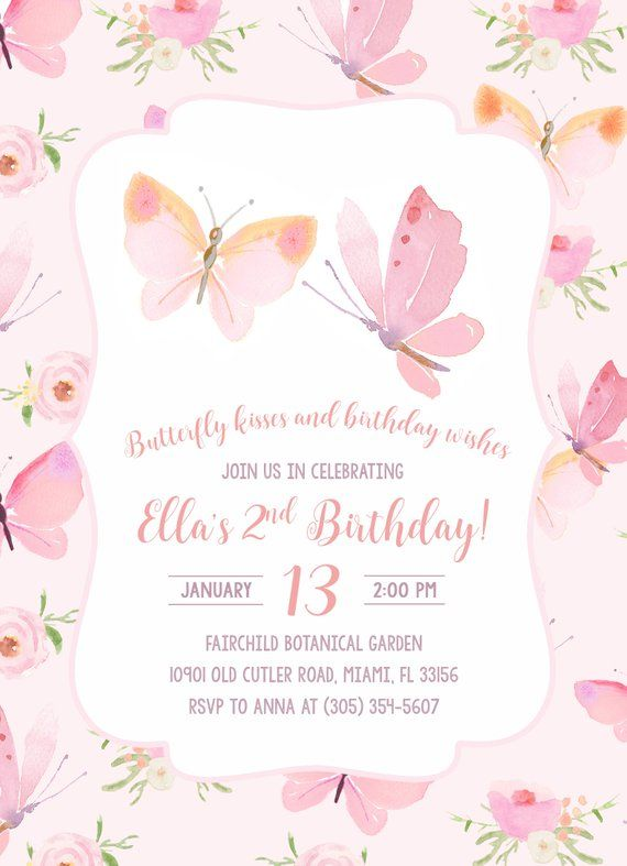 Butterfly Birthday Invitation Butterfly Invitation Pink | Etsy