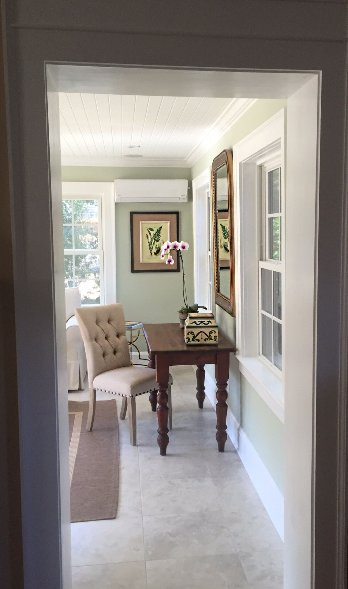 T Designs Remodeled Sunroom Paint Sherwin Williams Liveable Green Living Room Green Home Decor Home