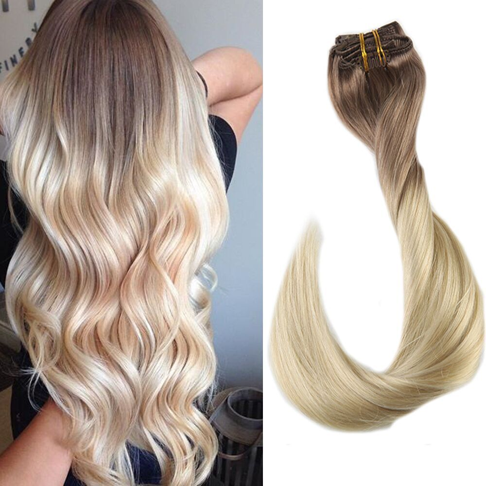 7pcsremy Human Hair Clip In Double Weft Hair Extensions Color 5613