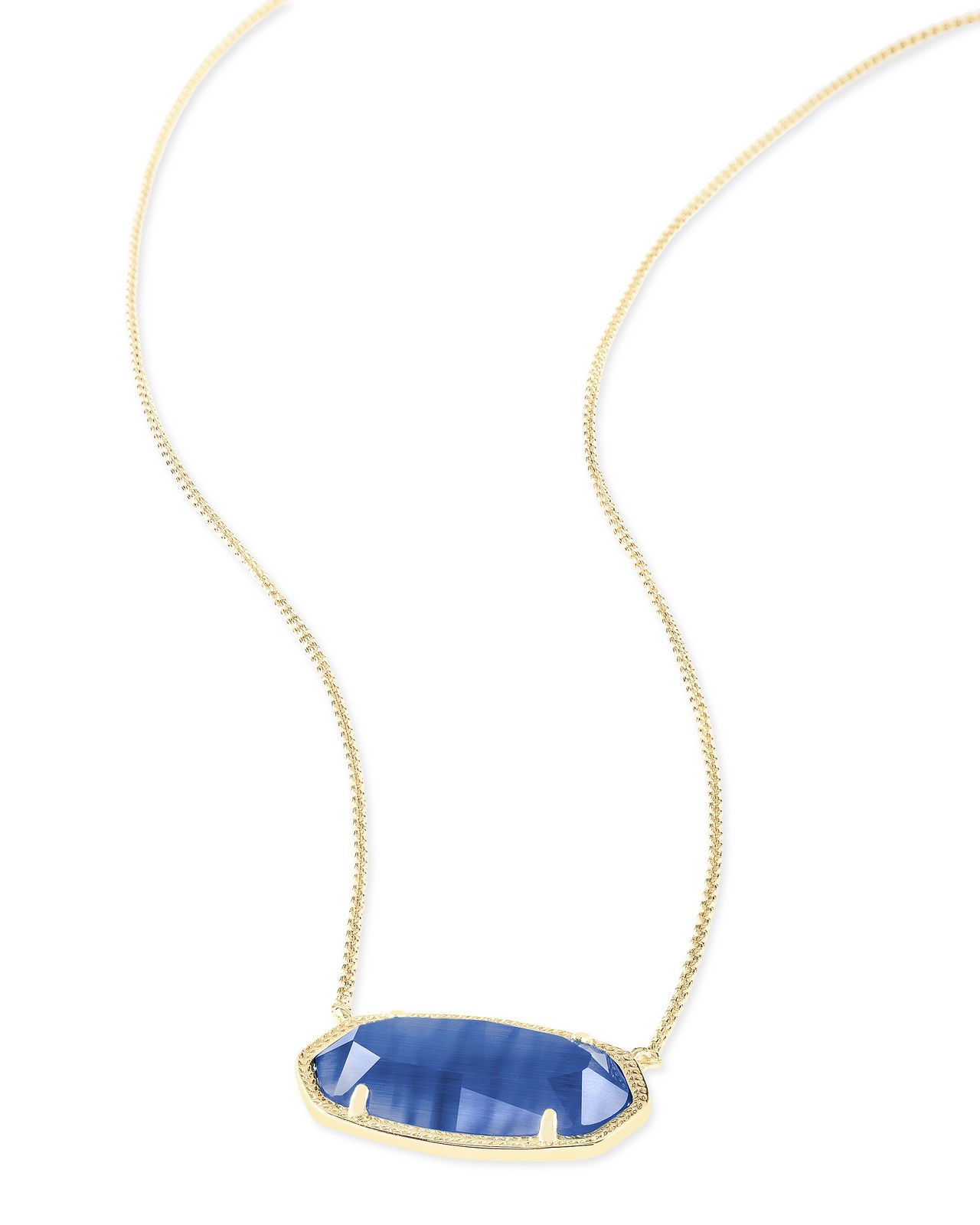 Kendra scott delaney oval pendant necklace in gold and navy cats eye
