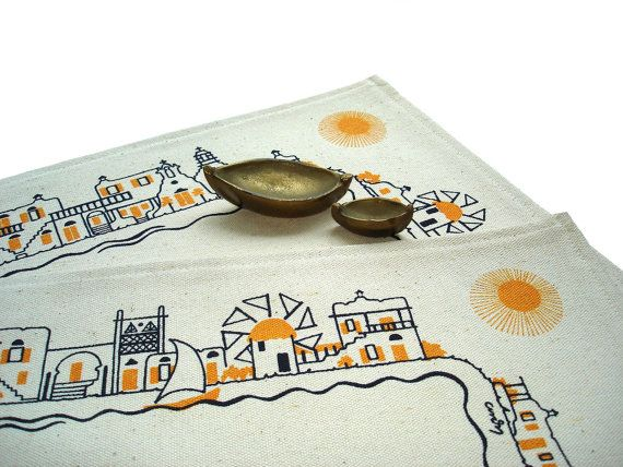 Table Decor Placemats Mykonos Hand Screen Printed On Pure Etsy Hand Screen Printed Screen Printing Placemats