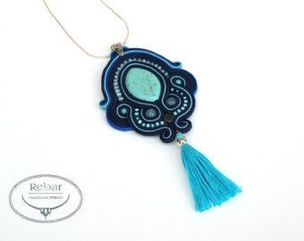 awesome A set of jewelery made with the soutache embroidery technique from turquoise how...