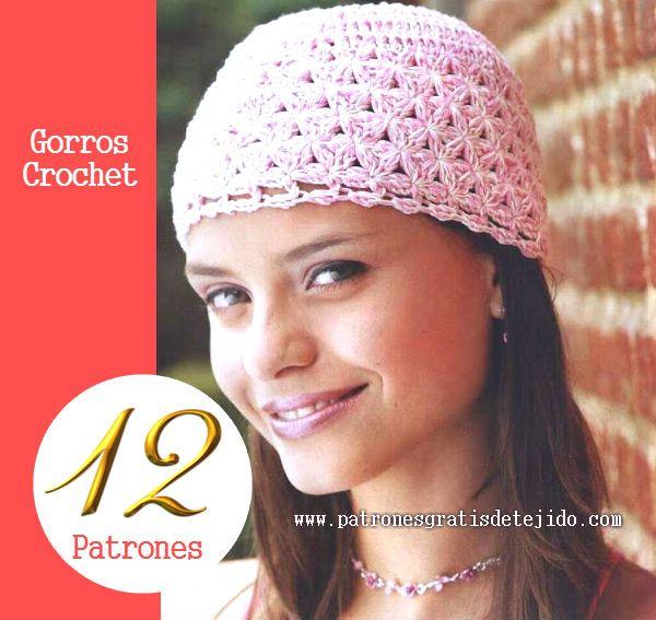 12 diagramas ganchillo para tejer gorros | bufandas, gorr@s y ...