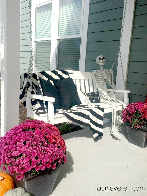 Halloween Porch Decor with Sherwin-Williams Halloween porch and Porch - halloween outside decoration ideas