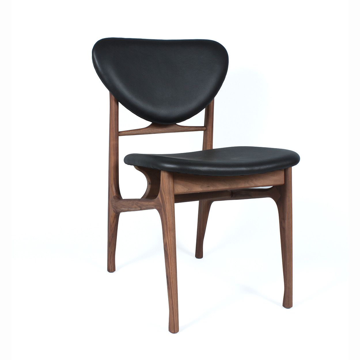 Mid Century Modern Reproduction Ejnar Dining Chair Black Leather