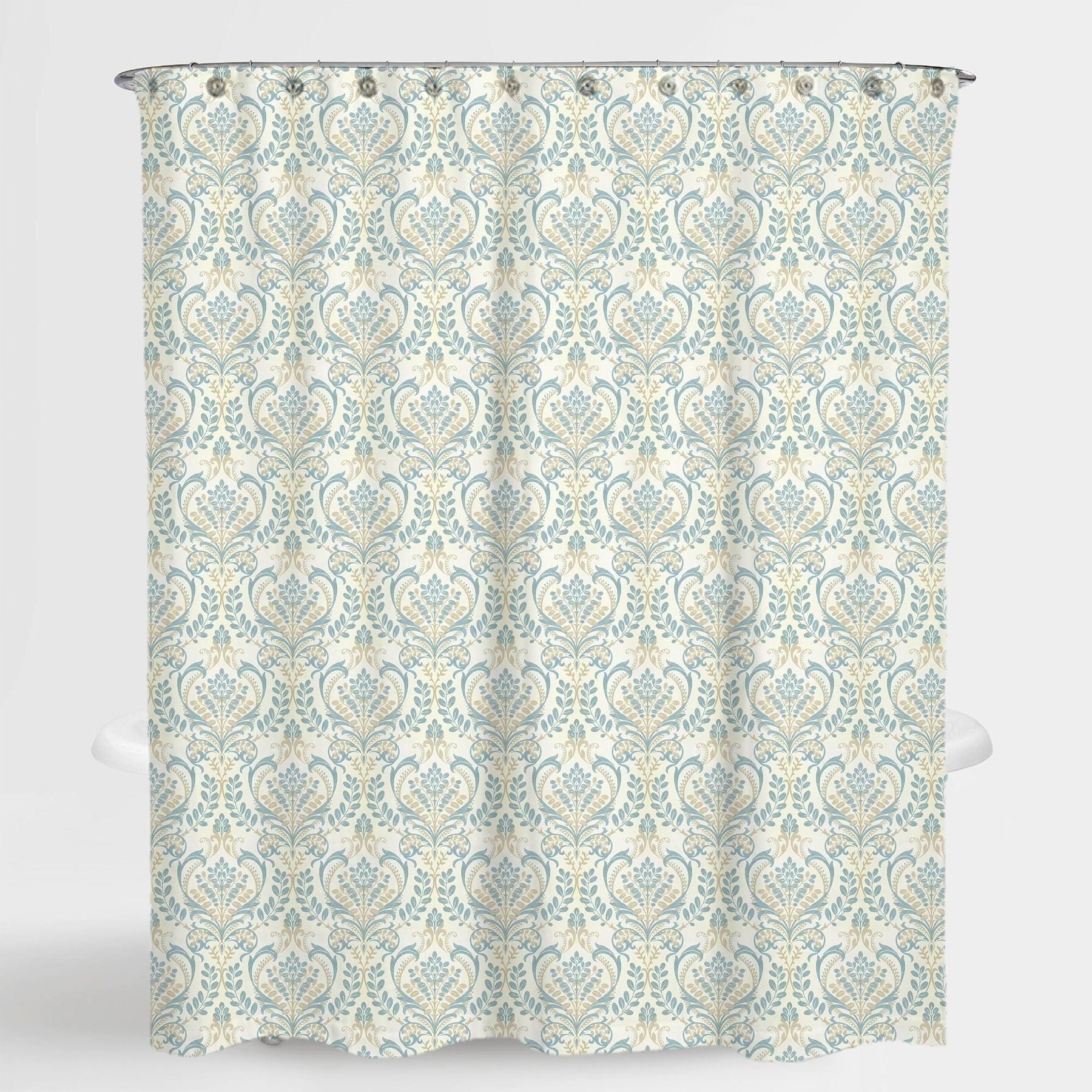 Damask Blue Vince Shower Water Repellent Curtain 72 X72 Free 12 Piece Shower Curtain Rings Fabric Shower Curtains Shower Curtain Rings Striped Shower Curtains