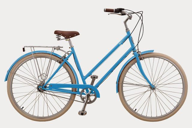 French Blue Bike With Cream Tires Brown Seat And Grips Bicycle