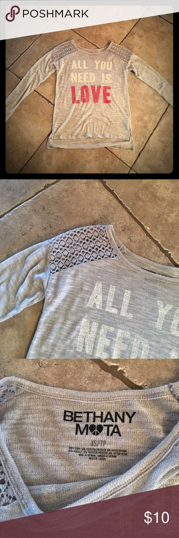 🛑ALL YOU NEED IS LOVE lite sweater❤️ Lite sweater and very comfortable. Worn a couple of times and in excellent condition. Purchased from local boutique❤️ says XS I'm a 34DD and a 4/6 and fits me. bethany mota Sweaters