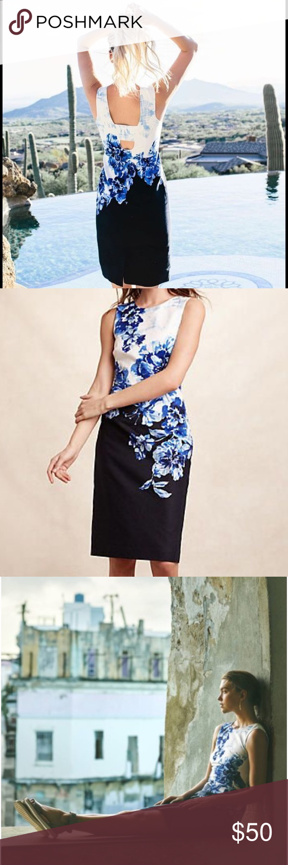 Maeve vanda blue pencil dress in excellent condition. This anthropologie floral dress would be perfect for Easter, graduation, or wedding season Anthropologie Dresses Mini