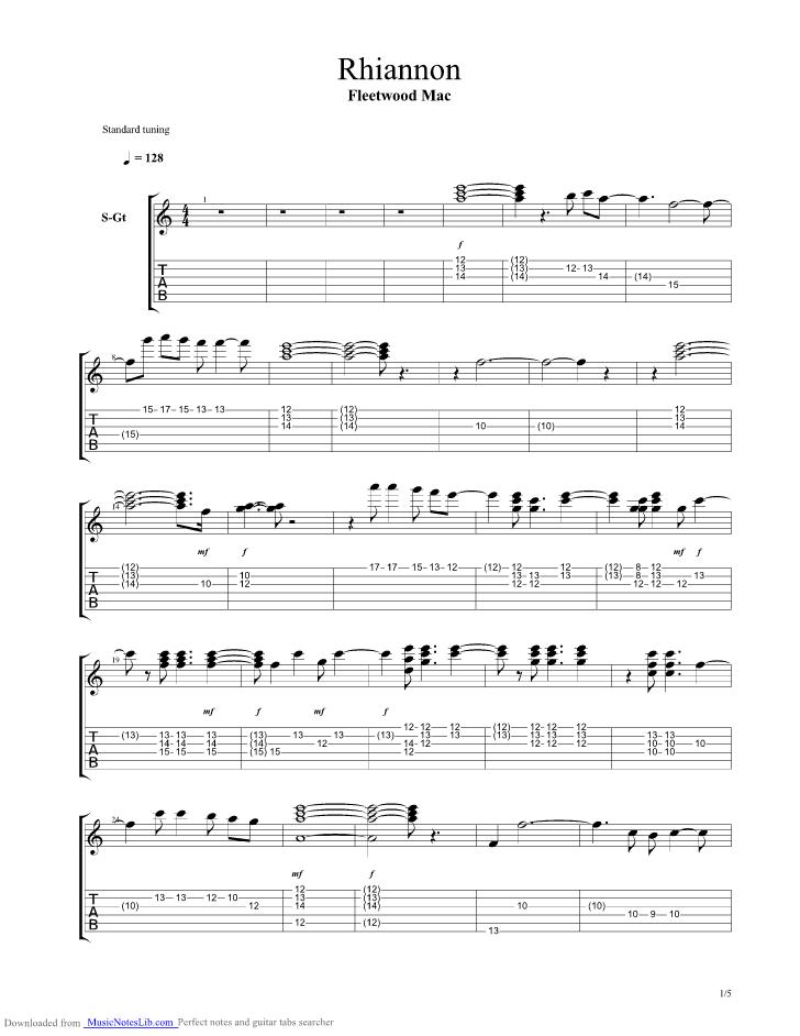 Rhiannon guitar pro tab by Fleetwood Mac @ musicnoteslib.com | Music ...