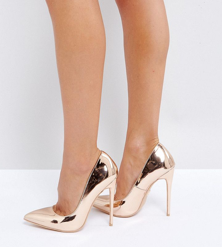 lost ink wide fit rose gold heeled pumps products rose