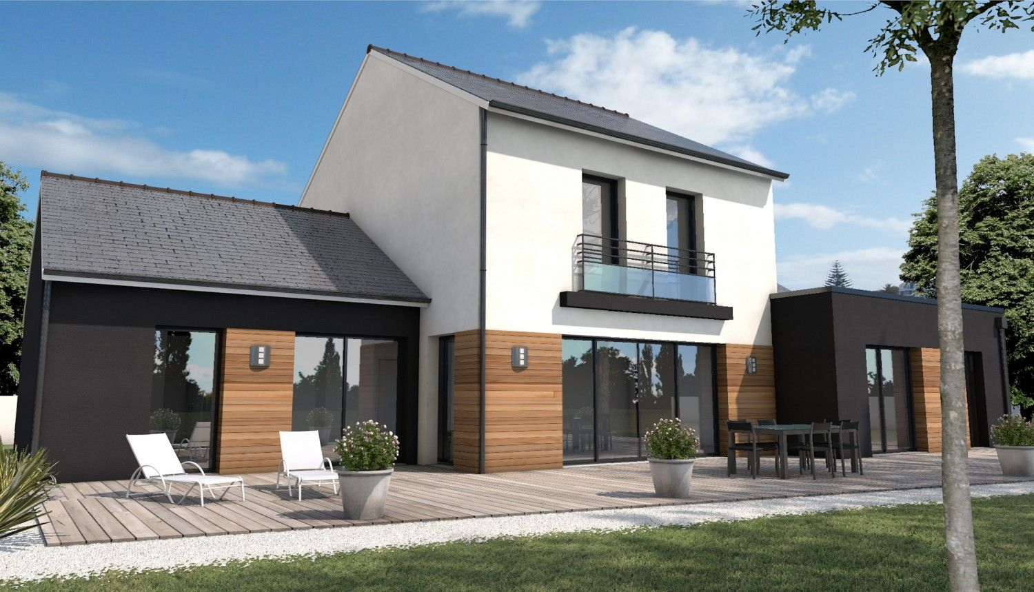 Depreux construction exteriors pinterest maisons for Extension contemporaine maison traditionnelle