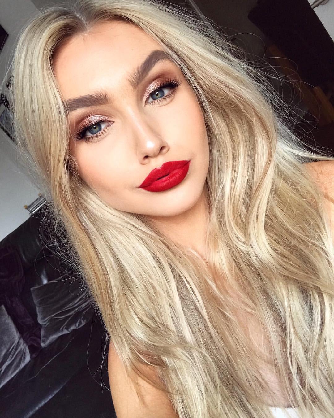 Pinterest Esib123 Red Lipstick Makeup Blonde Red Lips