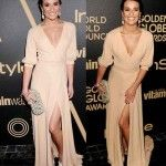Lea Michele's Beige V-Neck Gown, Clutch, Earrings and Shoes in HFPA Golden Globes 2013 held on 11/29/12