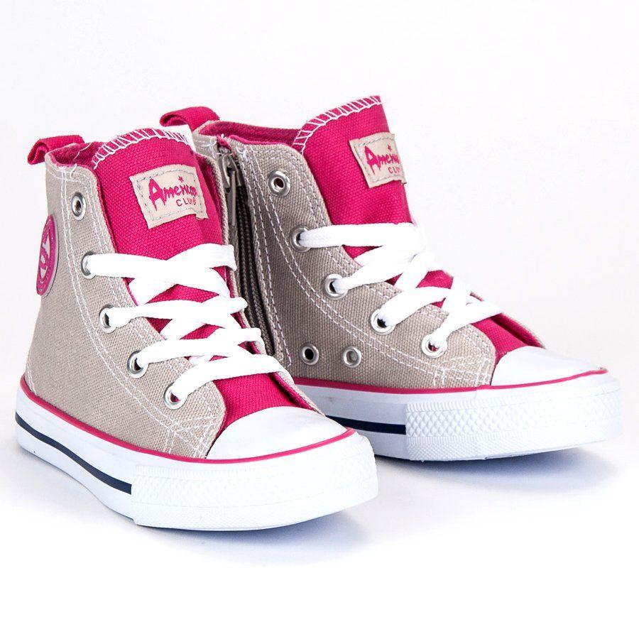 Buty Sportowe Dzieciece Dla Dzieci Americanclub American Club Szare Trampki Nad Kostke American Shoes Converse Sneaker Sneakers