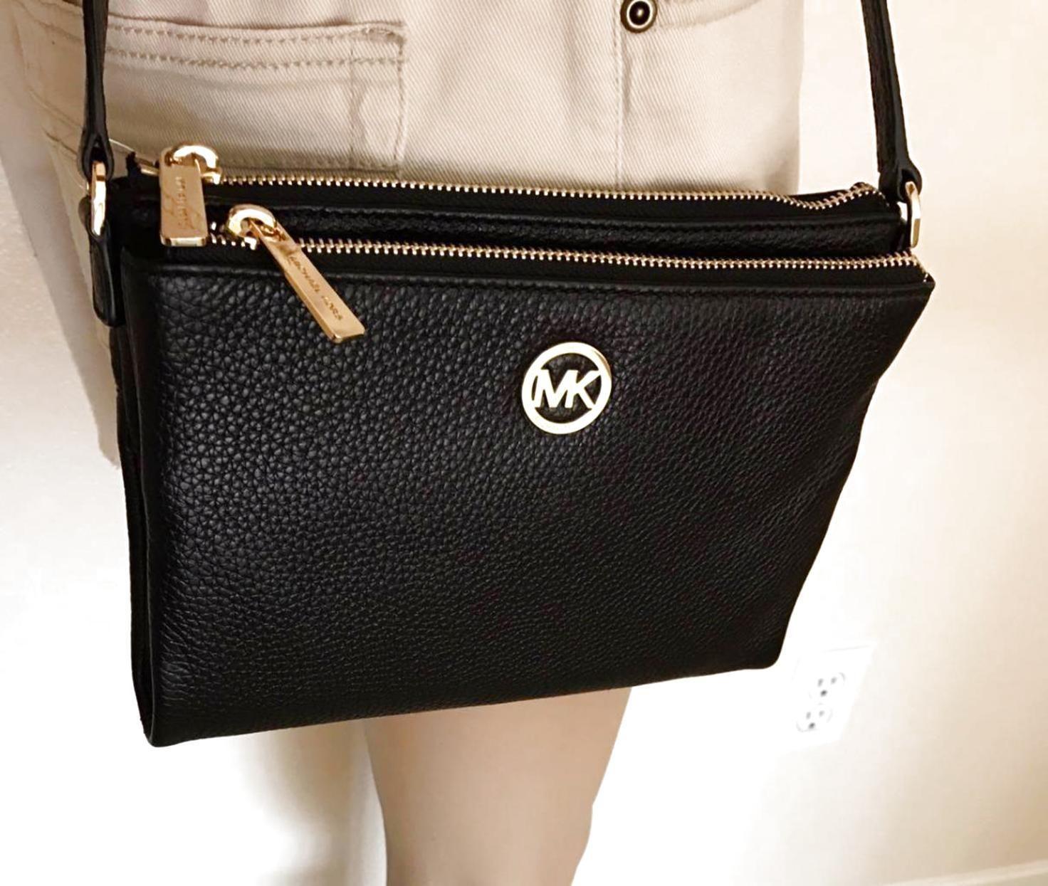 046440f0c2e7 NWT Michael Kors Fulton Black Leather Large Crossbody Bag Handbag  122.0