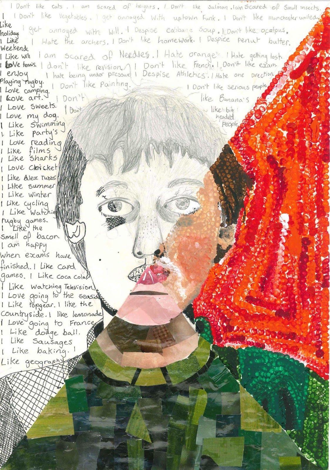 Year 7 Student Mixed Media Self Portrait