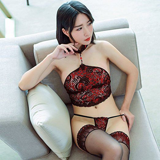 66faae20392 Amazon.com  Women s Chinese Traditional Vintage Sexy Silk Stocking Socks Lace  Hot Adult Exotic Lingerie Bodystocking Open Crotch Cup Crotchless Body Suit  ...
