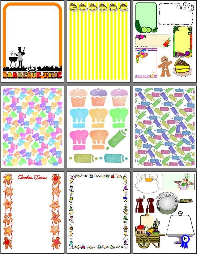 Food recipe scrapbook pages to print for heritage recipe - Scrapbook background free printables ...
