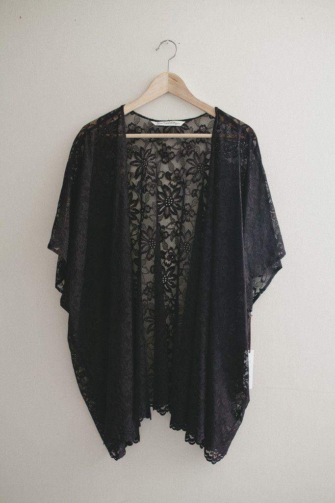 46bd27435d8 Bohemian Black Lace Kimono Cardigan