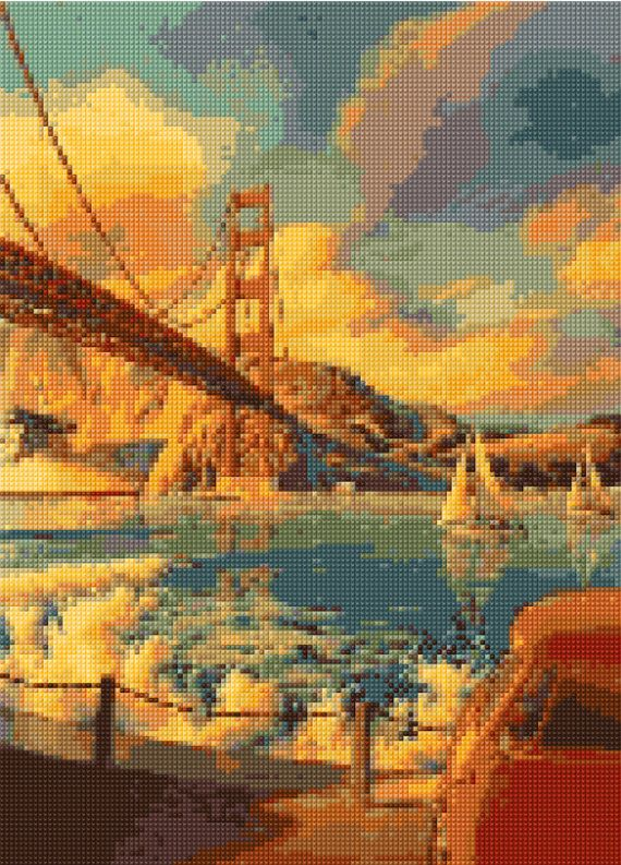 Vintage Golden Gate Bridge Cross Stitch pattern PDF - EASY chart with one color per sheet AND regular chart! Two charts in one!
