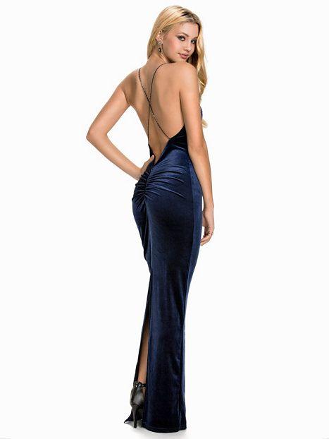 6fe050b4a7d2 Tight Velvet Slit Dress - Nly Eve - Mörk Blå - Festklänningar - Kläder -  Kvinna