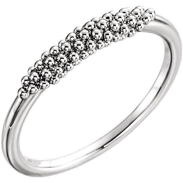 14K White Gold Beaded Ring